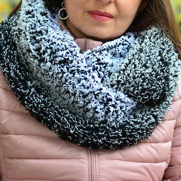 Knitted cowl women beauty gifts, scarf infinity, gray scarf black cowl, fluffy cowl buckle yarn scarf, gray knitted scarf women