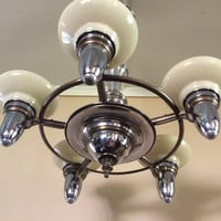 Vintage Art Deco Chandelier 5 Custard Shades Signed Lincoln 1930s