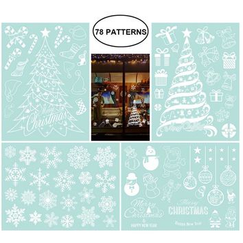 NICEXMAS 4 Sheets Christmas Trees Snowflakes Decoration Removable PVC Wall Window Door Mural Decal Sticker for Retail Store Coffee House Restaurant Supermarket Dress Shop
