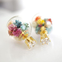 Front and Back glass balls ear jacket, Real dried flowers glass orb Ea