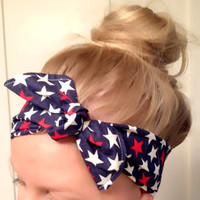 American Fourth of July Red Blue Navy Polka Dot Retro Print Headscarf Bandana Pin Up Headband Many Ways to Wear Spring Summer DOLLAR SHIP