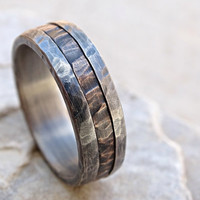 cool mens ring mixed metal, mens promise ring wood grain, unique wedding band bronze silver, mens wedding ring two tone, anniversary gift