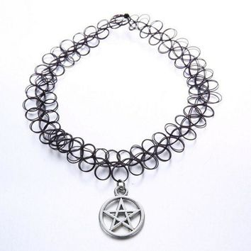 vintage stretch tattoo choker necklace gothic punk grunge henna elastic with pendant handmade fashion necklaces jewelry gift box  number 1