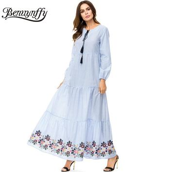 Benuynffy Tassel Tie Striped Embroidery A Line Swing Dresses 4XL Plus Size Autumn Women Casual O-Neck Long Sleeve Maxi Dress