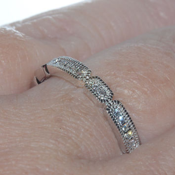Sterling Silver Cubic Zirconia Elaborate Segmented Eternity Ring 3mm Wide Band