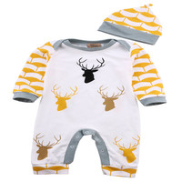 Baby Rompers Cute Deer Baby Clothes Roupas de bebee Newborn Baby Boy Clothes Girl Deer Romper+Hat 2pcs Clothing Sets