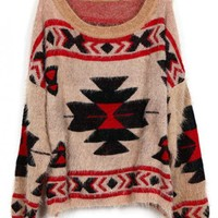 Geometric pattern round neck Bat-sleeved Pink sweater$42.00