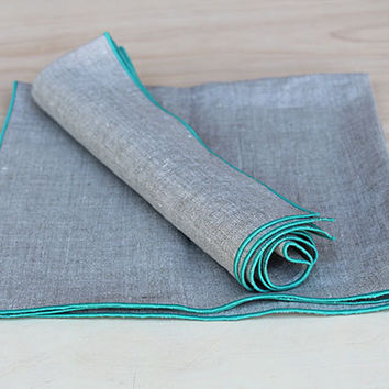 "Teal Green Linen Napkins  / Dinner Napkins / Custom Napkins / Natural and Teal Green Napkins / Set of 4 / 20"" square / Beach Collection"