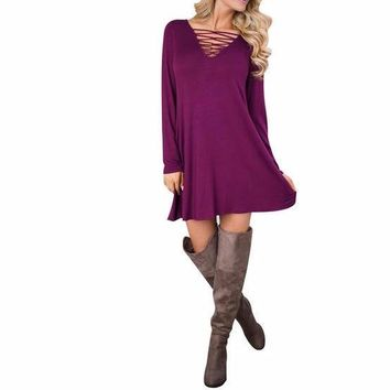 Women's Magenta Pink V-Neck Cutout Front  Long Sleeve Shift Dress