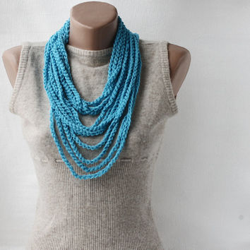 Summer Scarf Infinity scarf necklace blue by violasboutique