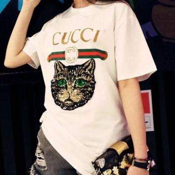 98a71fcc Gucci Women Loose Sequin Cat Embroidery Blouse Top T-Shirt