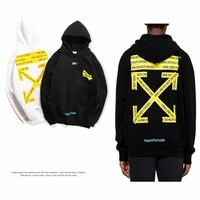 Off 18SS new white yellow arrow base hoodie off white tide men and women couple hooded sweater coat