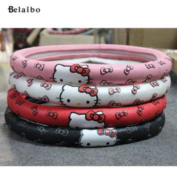 car steering wheel covers Cartoon latex Fashion cute hello Kitty latex to set exquisite car accessories