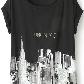 I Love NYC Graphic Print T-Shirt in Black