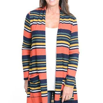 Deep Coral Striped Open Long Cardigan