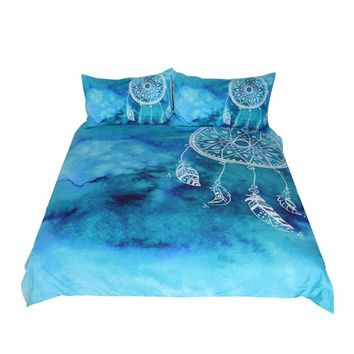 BeddingOutlet Watercolor Dreamcatcher Bedding Set King Blue and Pink Bedclothes for Adult Kids Chinese Style Quilt Cover 3 Pcs