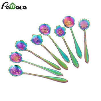 8 Pcs/Lot Stainless Steel Tableware Rainbow Flower Coffee Spoon,Stirring Sugar Spoon,Stir Bar Spoon,Tea Spoon Kitchen Gadget