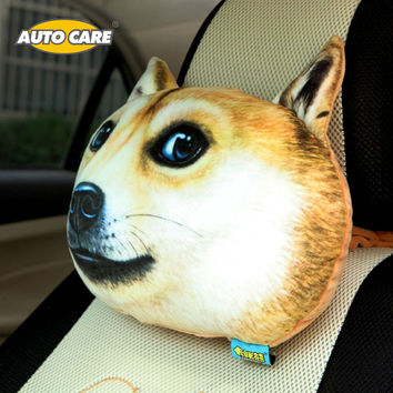 1PC 3D Dog Face Neck Headrest Pillow Cool Activated Carbon Seat Covers Rest Cushion Headrest Pillow Pad Cute Meow Pet Face