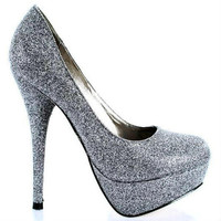 Angie-14 Pewter Glitter Round Toe Pump Stiletto Heel - Cutesy Originals