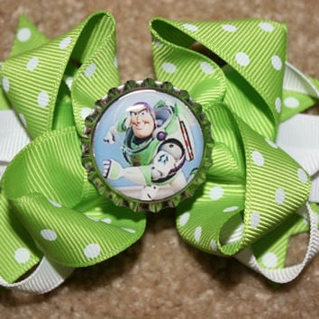 Buzz Lightyear from Disney Toy Story Custom Boutique Bottle Cap Hair Bow Clip - lime green and white polka dots