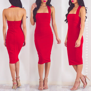 Back In Stock: Checking You Out Midi Dress - Red