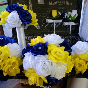 17 Piece Royal Blue Yellow White Rose Wedding Bouquet Silk Flower Package includes Matching Boutonnieres and Corsages