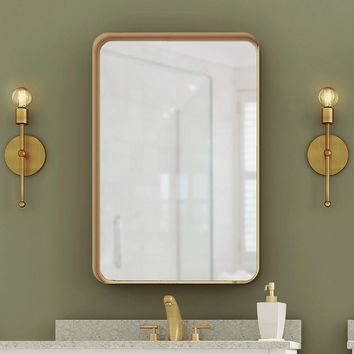 Rectangle Accent Mirror (Gold) Round Corners