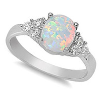 BEST SELLIING! Lab created White Opal & CZ .925 Sterling Silver Ring Size 4-12
