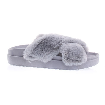 Mao01S Gray By Bamboo Slide In Sandal w Faux Fur Strap, Thick Molded Platform, Flatform Slipper