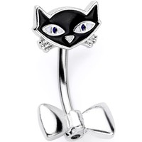 Curious  Bow Tie Kitty Cat Double Mount Belly Ring