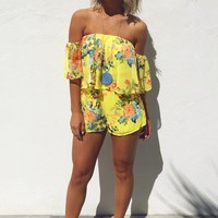When Flowers Bloom Romper: Chartreuse/Multi
