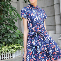 Printed Short Sleeve Belted Mini Dress