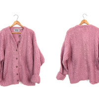 Chunky Knit ANGORA Sweater 80s Button Up Slouchy PINK Cardigan Loose Fit Oversized Cozy Boho Sweater Minimal Preppy Sweater Womens Large