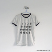 Moon Phase Shirt / Moon Phase Ringer Tee / Tumblr Inspired / Space / Moon Calender