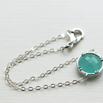 Dainty Round Mint Bracelet Square Silver Plated Mint Aqua Blue Bracelet Bridesmaid Bracelet - Bridal Bracelet Something Blue Wedding Jewelry