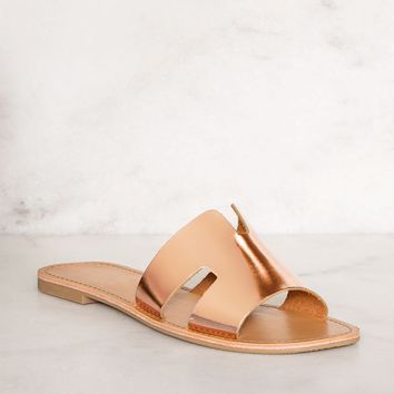 Mira Slip-On Sandals - Rose Gold