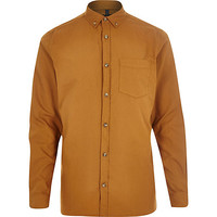 River Island MensMustard long sleeve Oxford shirt