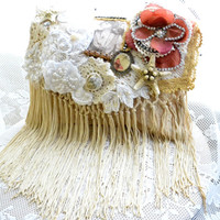 Stevei Nicks Gypsy purse, boho envelope clutch, bohemian, Stevie Nicks embellished bag, French cottage floral, shabby, true rebel Clo