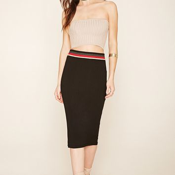 Ribbed Stripe-Waist Skirt