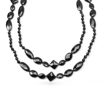 Faceted Onyx Beads Endless Layering Long Warping Strand Necklace