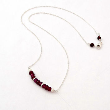 Sterling Silver Garnet Mini Gemstone Bar Necklace - Delicate Layering Necklace - Beaded Bar Necklace