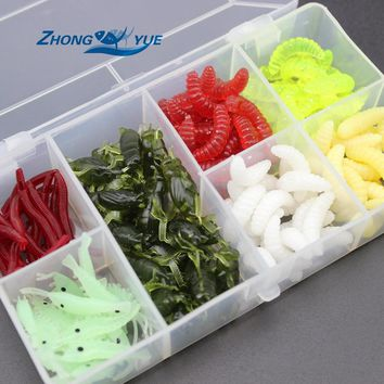 NEW 140pcs/lot Fishing Lures bread bug Earthworm shrimp insect Soft Bait Suit Set Tackle Soft Bait and Tackle Box Free shipping