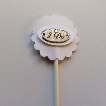"Glittered ""I Do""  Cupcake topper on lollipop sticks. Bridal Shower Cupcake topper, Wedding Cupcake topper, Partypicks, silver & white picks"