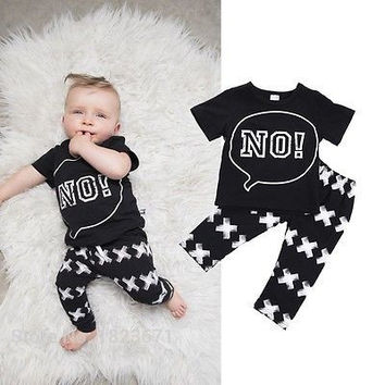 "2pcs/Set Letter ""No"" Printed For Newborn Toddler Infant Kids Baby Boy Clothes T-shirt Tops+Pants  children clothing Set"