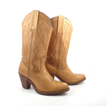 Frye Boots  Vintage 1980s Stacked Heel Tan Brown Leather Women's size 6 1/2