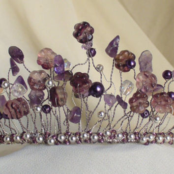 Amethyst Bridal Tiara- Floral, Gothic Wedding, Gemstone Beaded Tiara, Swarovski Crystal, February's Birthstone