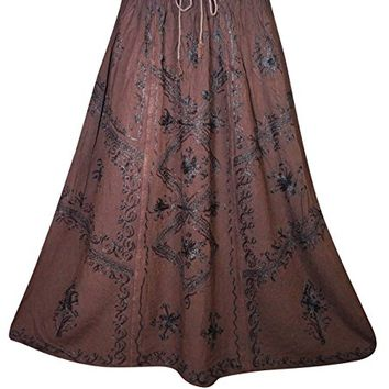 Mogul Womens Long Skirt Floral Embroidered Rayon A-Line Boho Flare Peasant Skirts (Dark Brown)