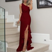 Voceelinda 2018 New Women Sexy Sleeveless Party Dress Fashion One Shoulder Solid Long Formal Dress