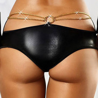 Hot Deal On Sale Cute Plus Size Chain Decoration Sexy Club Panties Exotic Lingerie [6596477827]