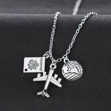 Travelling The World Passport Airplane Globe Pendant Chain Necklace For Love Travel Wanderlust Travelers Necklaces Gifts Collier